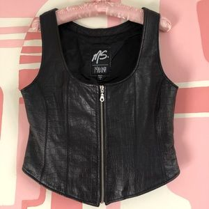 90s Genuine Leather Zip Up Vest